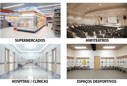 supermercados anfiteatros hospitais clinicas espaços desportivos